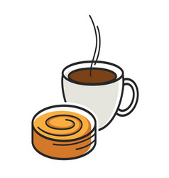 Cup coffee with steam and sweet tasty bun vector