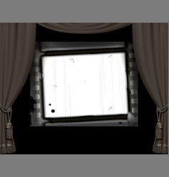 curtain frame in a retro cinema hall and white vector image