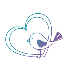 cute bird with heart vector image