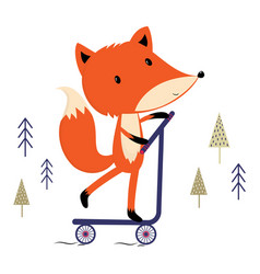 Cute fox scooter vector