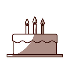 delicious cake brithday with candles vector image