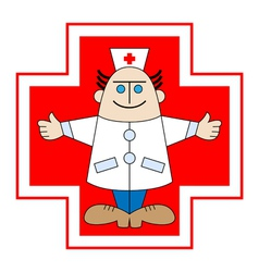 Doctor against red cross vector