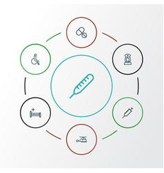 Drug outline icons set collection of handicapped vector