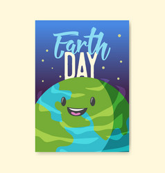 earth day poster flyer template green planet vector image