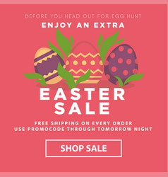Easter sale conceptual banner nest with decorated vector