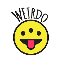 emoji weird three eyed funny face weirdo smile vector image