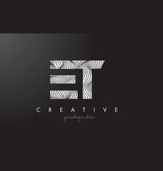 Et e t letter logo with zebra lines texture vector