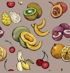 exotic seamless pattern with summer fruit vector image