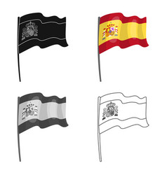 Flag of spain icon in cartoon style isolated on vector