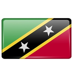 Flags Saint Kitts Nevis in the form of a magnet on vector