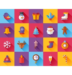 Flat Christmas and New Year icons set vector