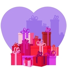 Flat mountain gifts boxes vector