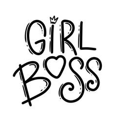 girl boss lettering phrase for postcard banner vector image