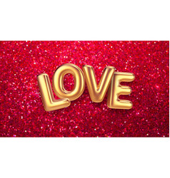 gold balloons happy valentines day lettering on a vector image