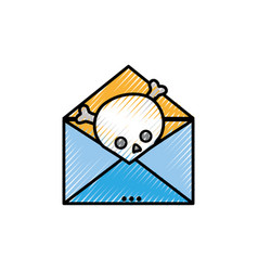 Grated e-mail letter message with danger skull vector