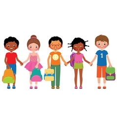 Group of children students with school bags vector image