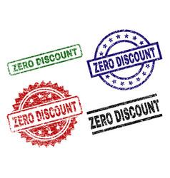 grunge textured zero discount stamp seals vector image