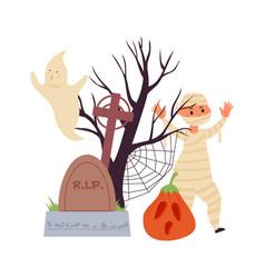 halloween cartoon scene cute zombie kid scary vector image