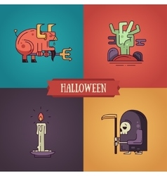Halloween characters line flat design modern icons vector