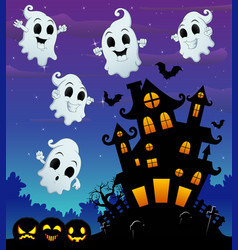Halloween night background with flying ghost and s vector