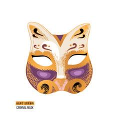 hand drawn venetian carnival cat mask vector image
