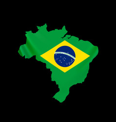 hanging brazil flag in form map federative vector image