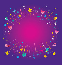 Happy fun bursts explosion banner frame vector