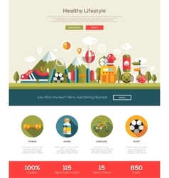 Healthy lifestyle website template with header vector image