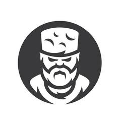 highlander chechen man silhouette sign vector image