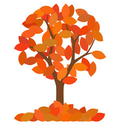 Isolated autumn tree with fallen leaves on white vector