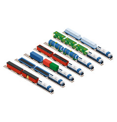 isometric of a set of railway vector image