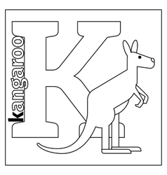 Kangaroo letter K coloring page vector image