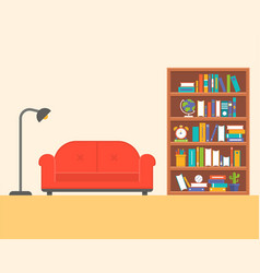 lamp with sofa and book shelf flat design vector image