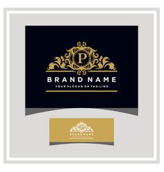 Letter p logo design concept royal luxury gold vector