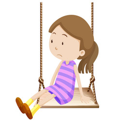 Little girl on wooden swing vector