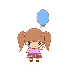 Little girl with balloon and pretty dress vector