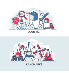 logistics and world famous landmarks banner vector image