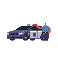 Male police officer standing near patrol car vector