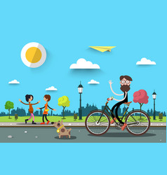 man on bicycle with two women flat design nature vector image