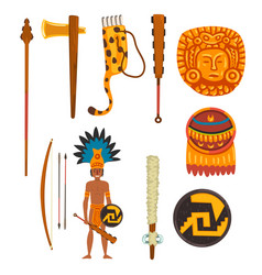 Maya civilization symbols set ancient american vector