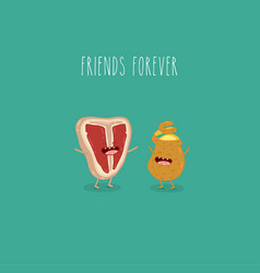 Meat potato friends forever graphics vector