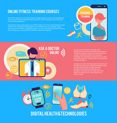 medicine and technology horizontal banners vector image