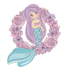 mermaid flower floral wreath vector image