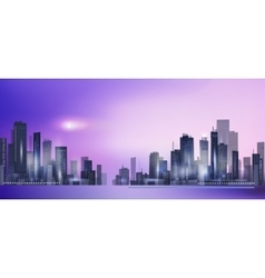 Modern night city skyline in moonlight vector