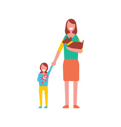 Mother walk with toddler girl playing teddy bear vector
