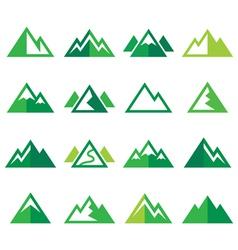 Mountain green icons set vector