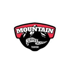 mountain summer camp emblem template with rock vector image