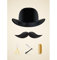 Moustache style icons set vector image