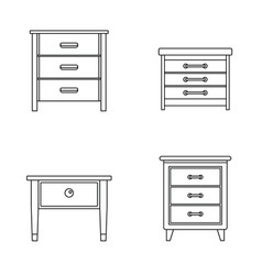 nightstand bedside icons set outline style vector image