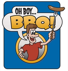 Oh Boy Barbecue design vector